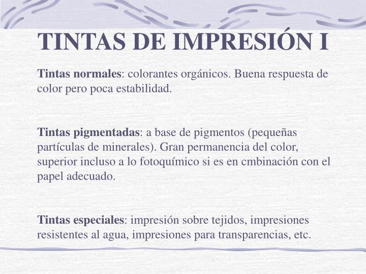TINTAS DE IMPRESIÓN I