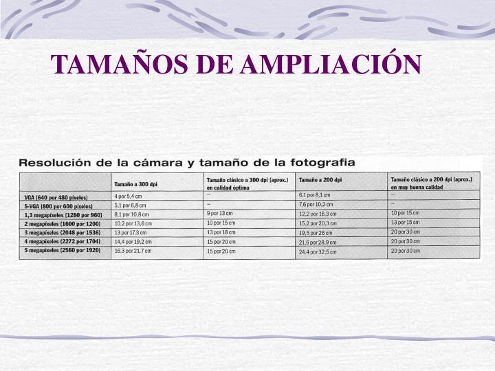 TAMAÑOS DE AMPLIACIÓN