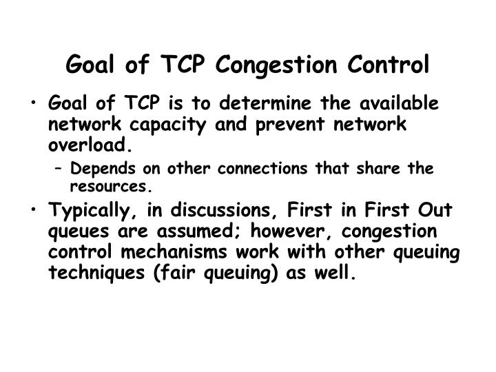 Goal of tcp congestion control