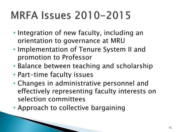 MRFA Issues 2010-2015