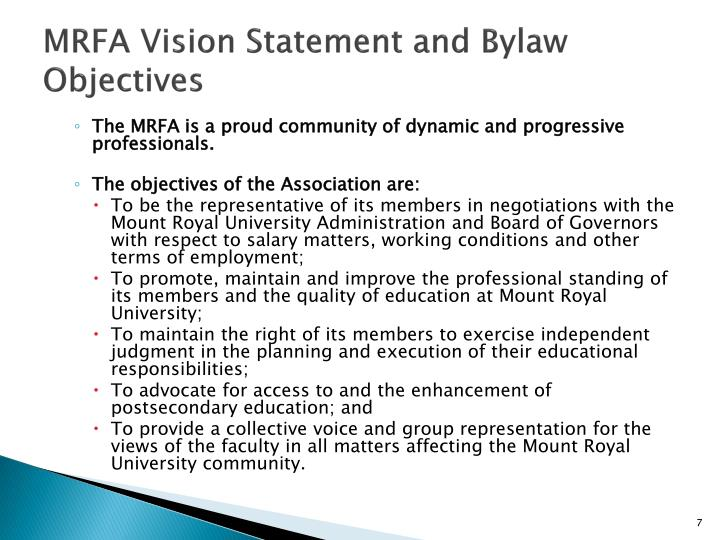 MRFA Vision Statement and Bylaw Objectives