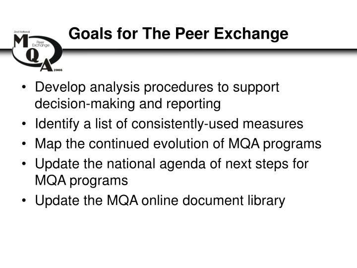 Goals for The Peer Exchange