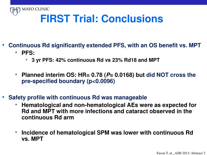 FIRST Trial: Conclusions