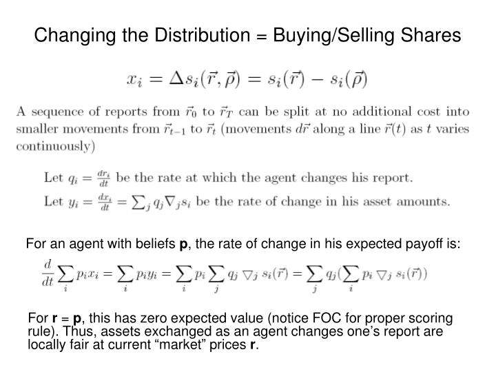 Changing the Distribution = Buying/Selling Shares