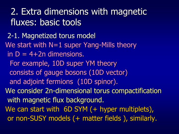 2. Extra dimensions with magnetic fluxes: basic tools