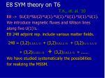 e8 sym theory on t6