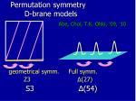 permutation symmetry d brane models1