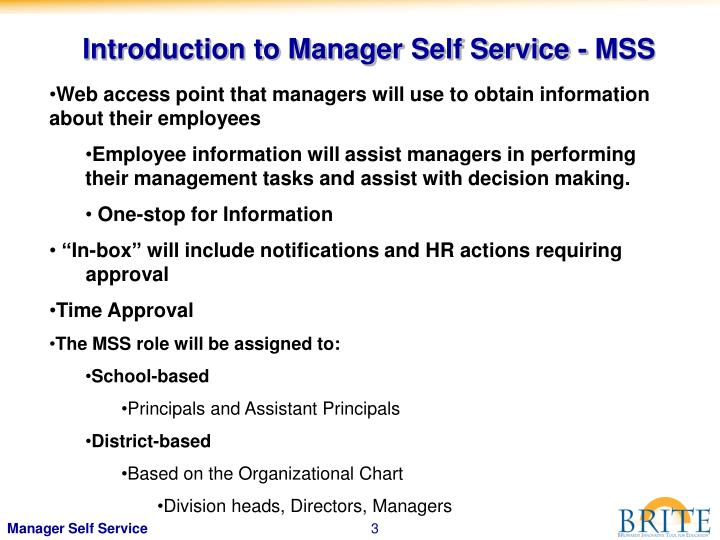 Introduction to Manager Self Service - MSS