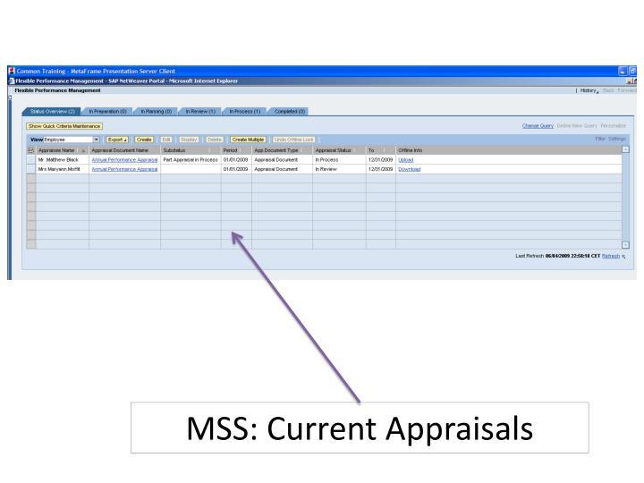 MSS: Current Appraisals