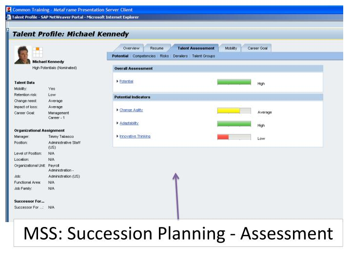 MSS: Succession Planning - Assessment