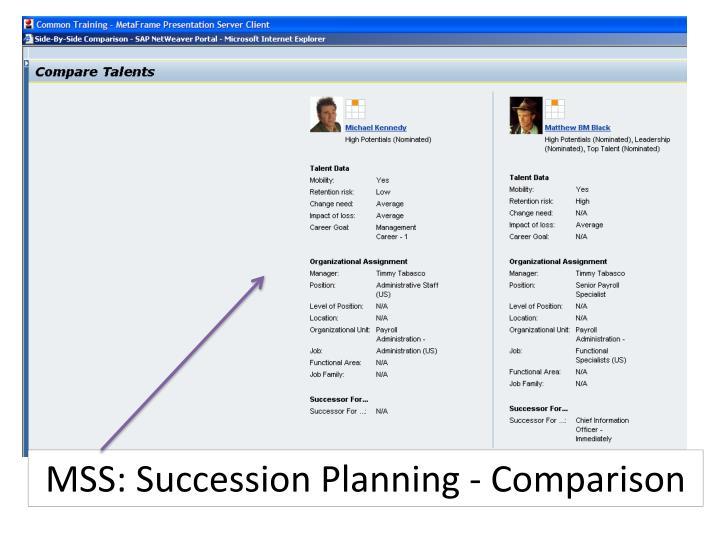 MSS: Succession Planning - Comparison