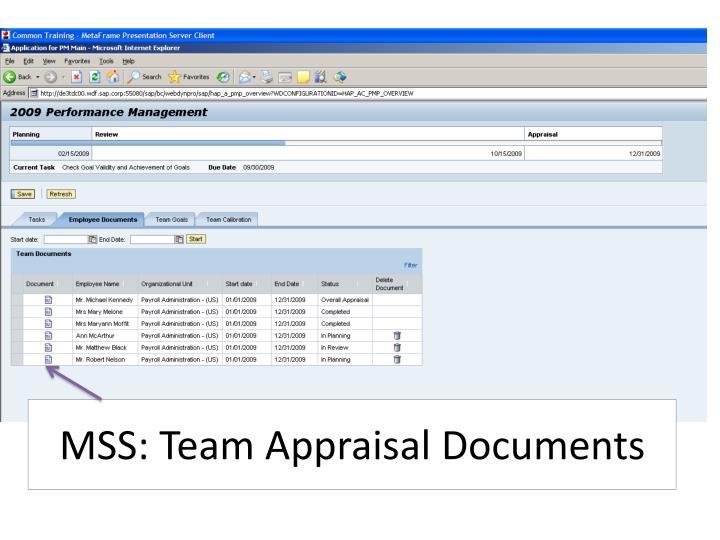 MSS: Team Appraisal Documents