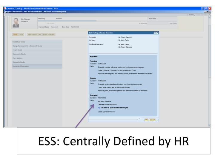 ESS: Centrally Defined by HR