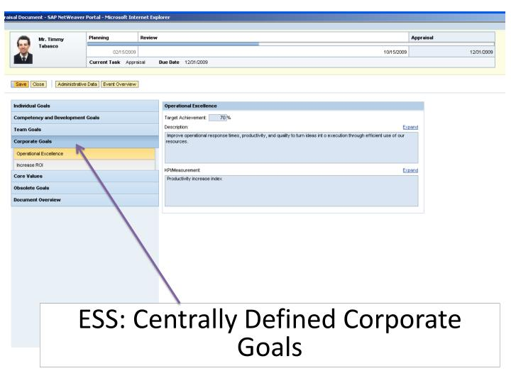ESS: Centrally Defined Corporate Goals