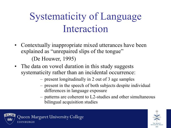Systematicity of Language Interaction