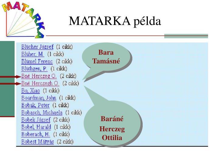 MATARKA példa