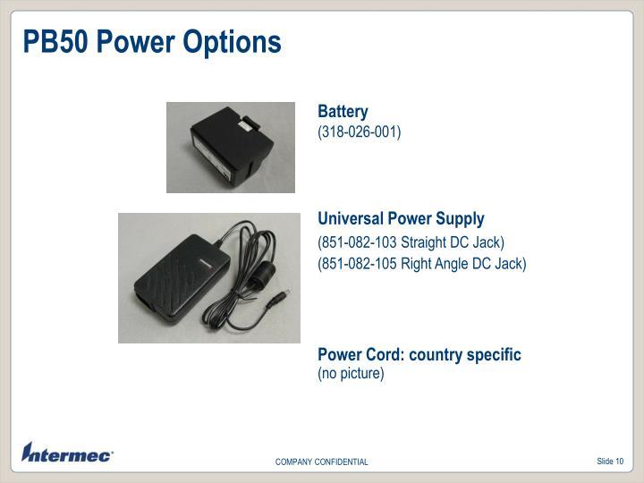 PB50 Power Options