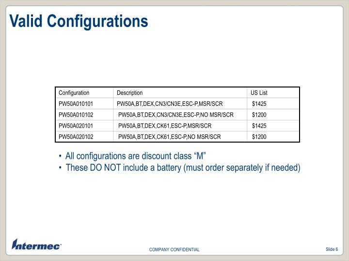 Valid Configurations