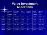 value investment allocations