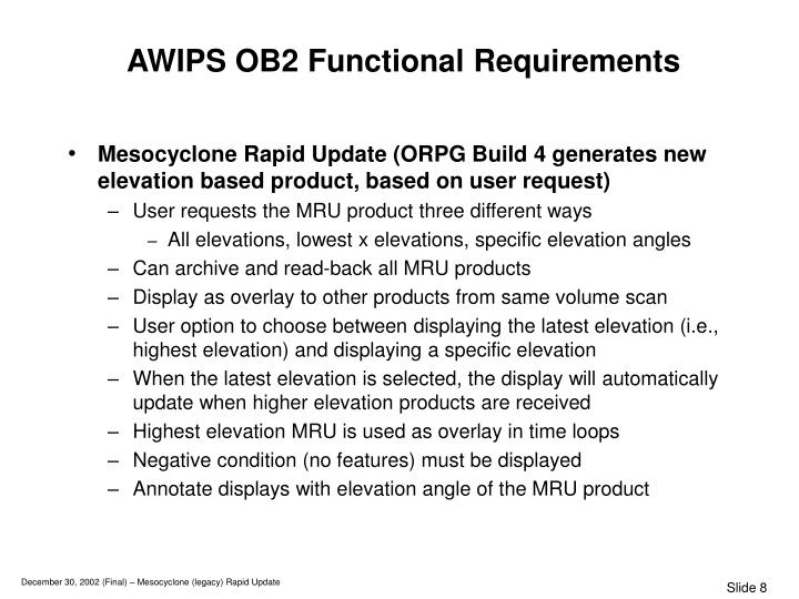 AWIPS OB2 Functional Requirements