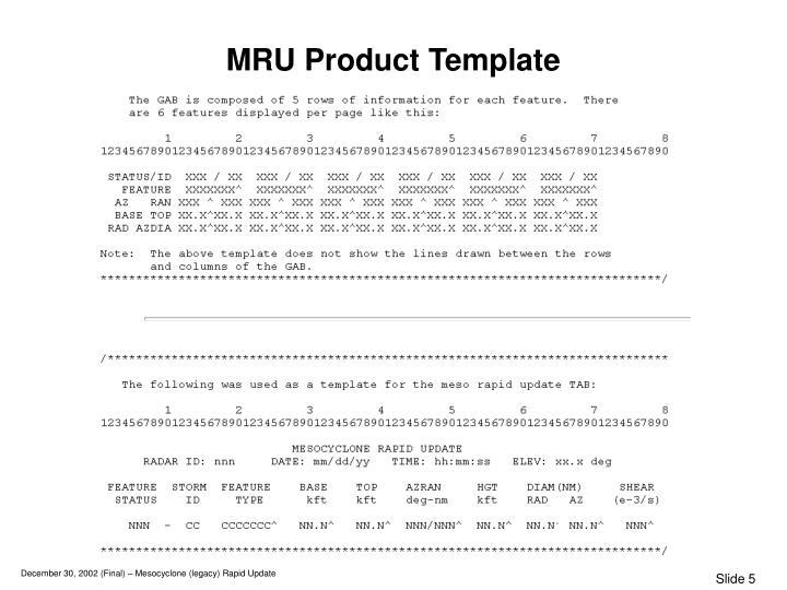 MRU Product Template