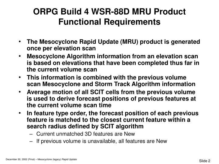ORPG Build 4 WSR-88D MRU Product
