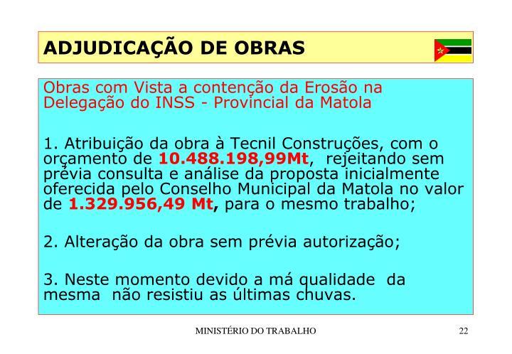 ADJUDICAÇÃO DE OBRAS