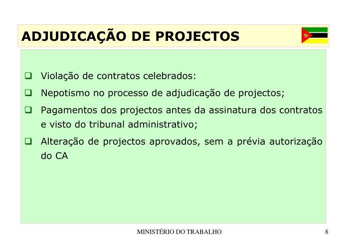 Violação de contratos celebrados: