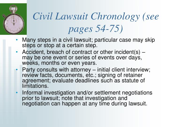 Civil Lawsuit Chronology (see pages 54-75)