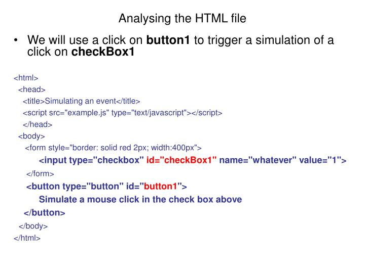Analysing the HTML file