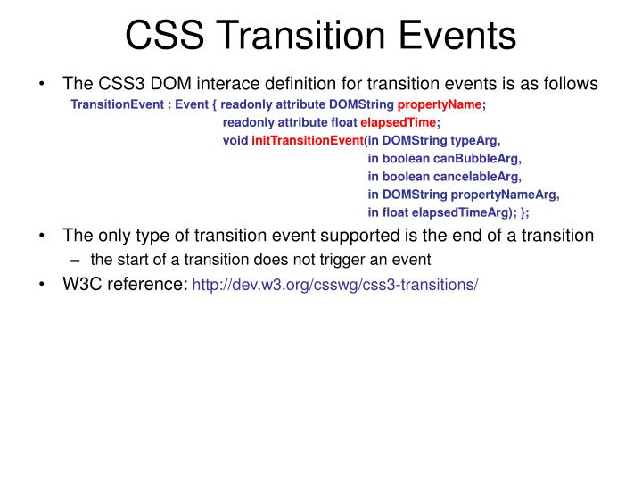 CSS Transition Events