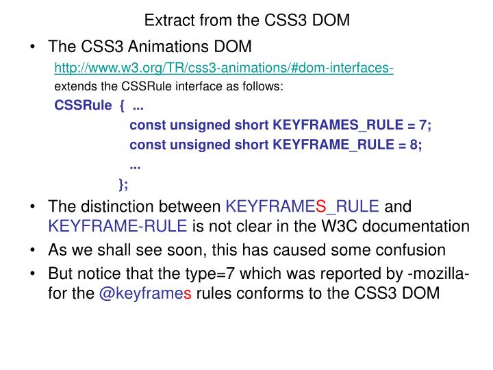Extract from the CSS3 DOM