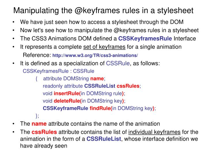Manipulating the @keyframes rules in a stylesheet