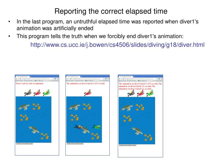 Reporting the correct elapsed time
