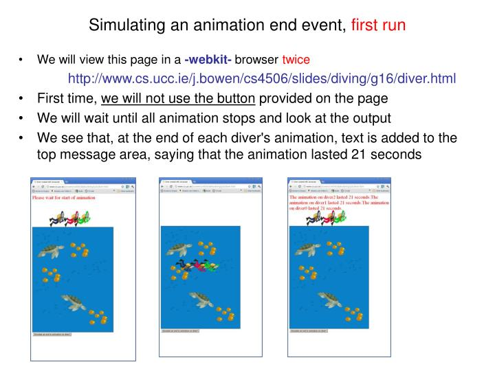 Simulating an animation end event,