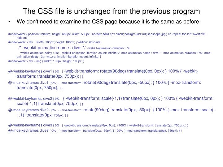 We don't need to examine the CSS page because it is the same as before