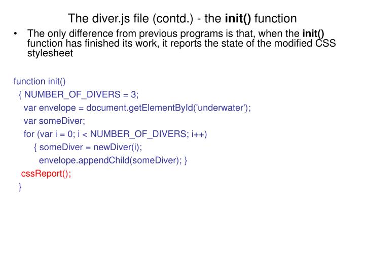 The diver.js file (contd.) - the