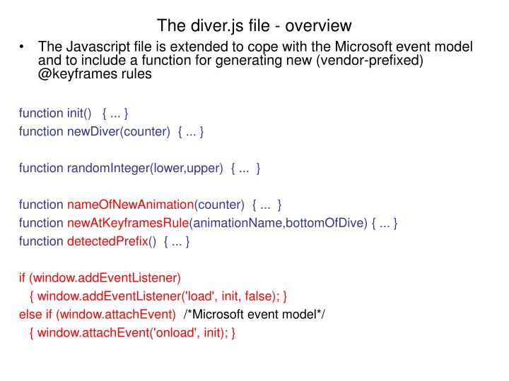 The diver.js file - overview