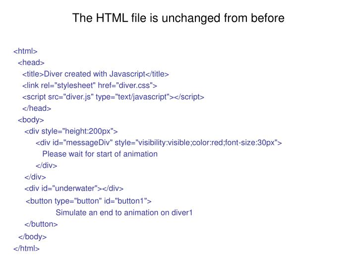 The HTML file is unchanged from before