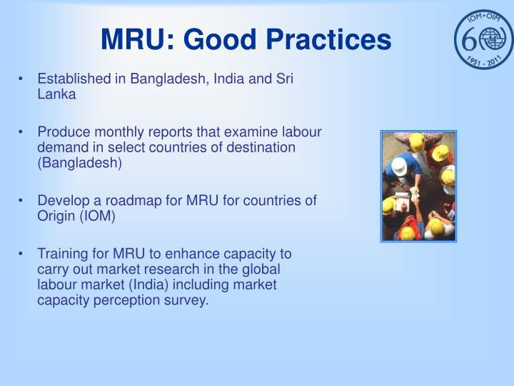 MRU: Good Practices