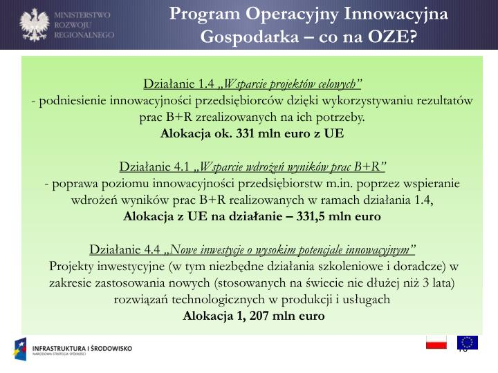 Program Operacyjny Innowacyjna Gospodarka – co na OZE?