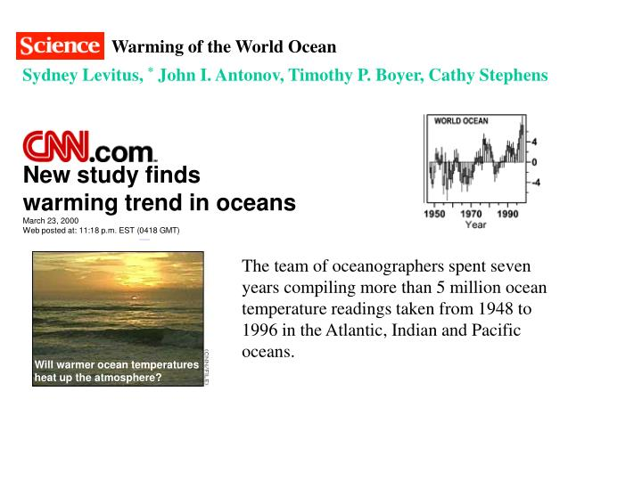 Warming of the World Ocean