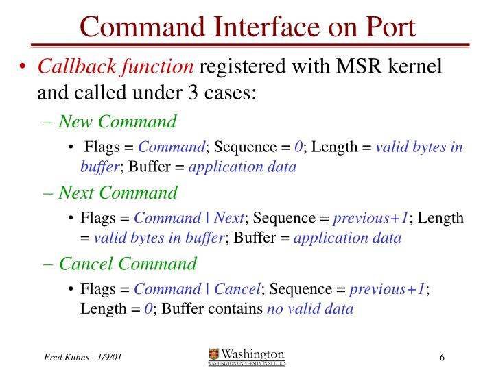 Command Interface on Port