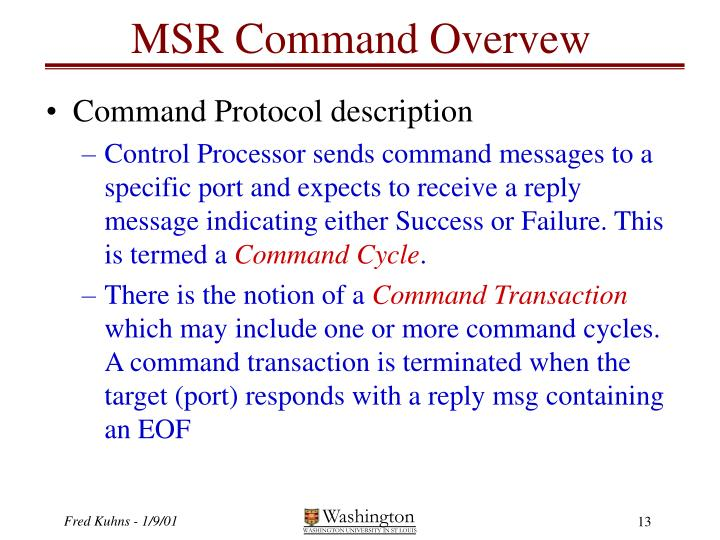 MSR Command Overvew