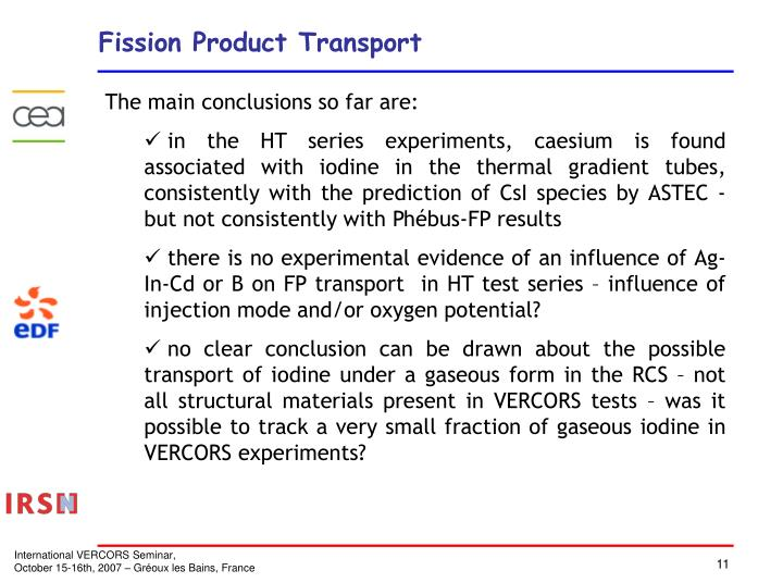 Fission Product Transport
