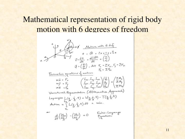 Mathematical representation of rigid body motion with 6 degrees of freedom