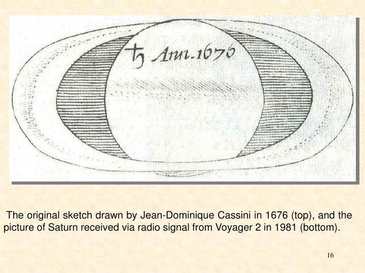 The original sketch drawn by Jean-Dominique Cassini in 1676 (top), and the picture of Saturn received via radio signal from Voyager 2 in 1981 (bottom).