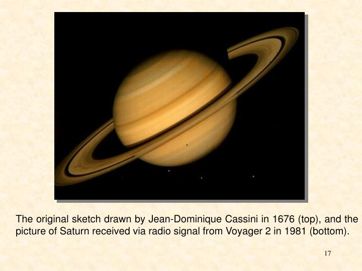 The original sketch drawn by Jean-Dominique Cassini in 1676 (top), and the picture of Saturn received via radio signal from Voyager 2 in 1981 (bottom