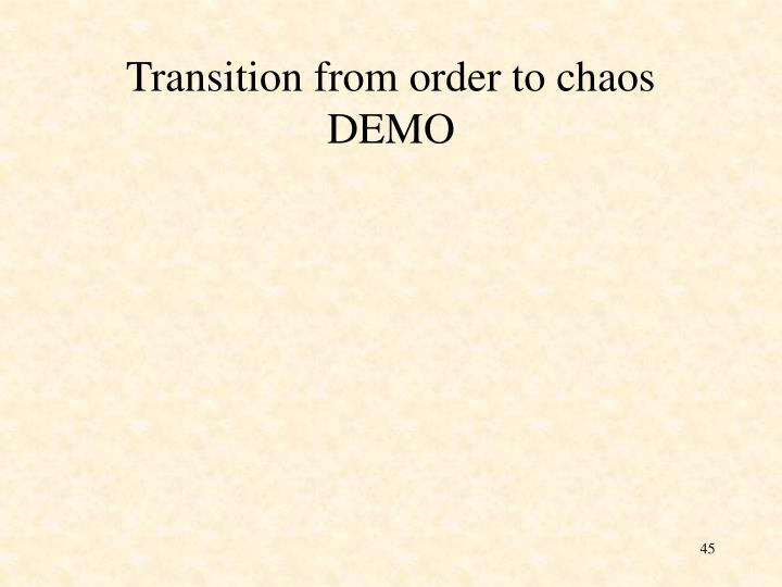 Transition from order to chaos