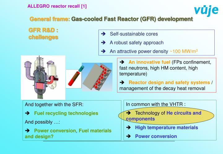 ALLEGRO reactor recall